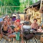 Iban tribe at their longhouse, Sarawak