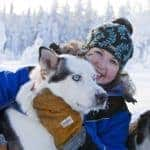 Meet the husky dogs on a sledding trip