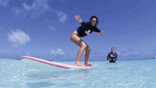 Surfing at the Four Seasons Kuda Huraa